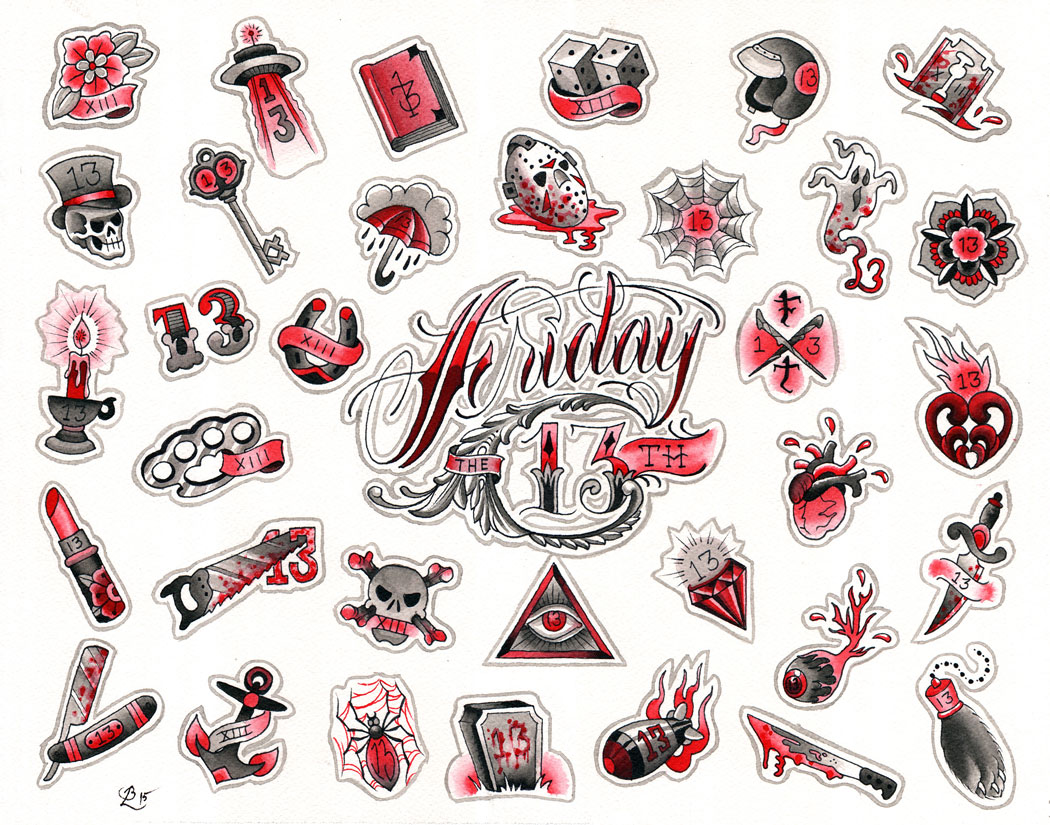 friday the 13th flash sheet 2016 red hot tattoo. Black Bedroom Furniture Sets. Home Design Ideas